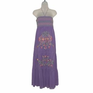 Flying Tomato embroidered tier chiffon maxi dress